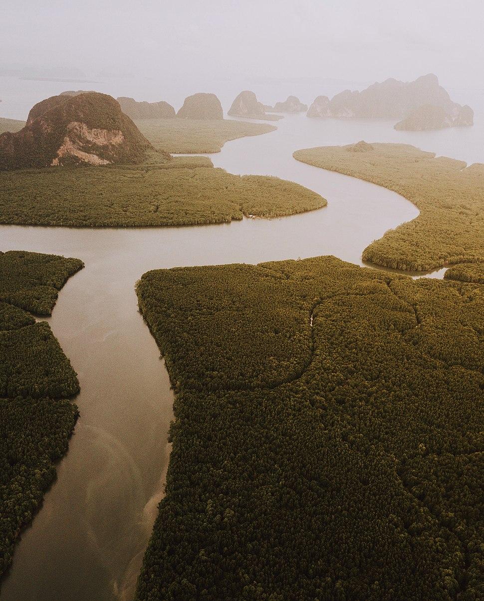 Sunset from above Phang-nga
