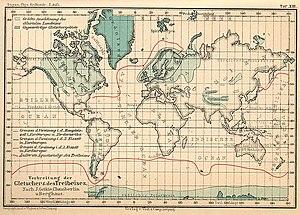 Alexander Georg Supan - Distribution of glaciers and drift ice in 1896, from Supan's Grundzüge der physischen Erdkunde (Basics of Physical Geography)