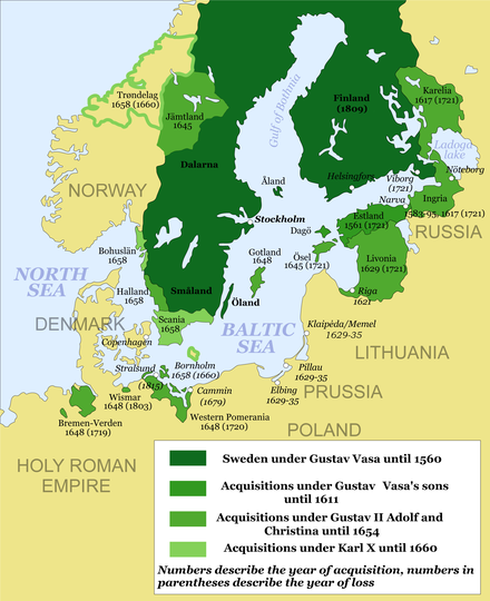 The Swedish Empire following the Treaty of Roskilde of 1658. Dark green: Sweden proper, as represented in the Riksdag of the Estates. Other greens: Swedish dominions and possessions Swedish Empire (1560-1815) en2.png