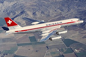 Swissair Convair 990 in flight.jpg