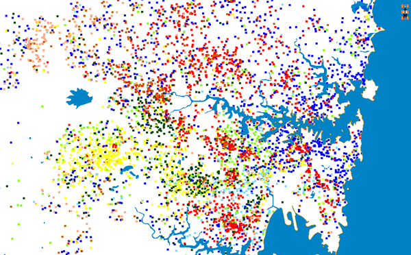Each dot indicates 100 persons born in Britain (dark blue), Greece (light blue), China (red), India (brown), Vietnam (yellow), Philippines (pink), Italy (light green) and Lebanon (dark green). Based on 2006 Census Sydney CoB dots.png