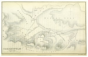 Thermopylae - Map of 1876, depicting the coast line in the time of Herodotus, and the coast line at the time of the map (1876). Thermopylae pass is between Alpeni and Anthela.