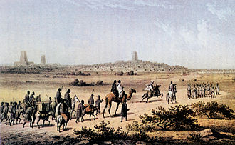 Heinrich Barth - Heinrich Barth approaching Timbuktu on September 7th 1853 as depicted by Martin Bernatz.