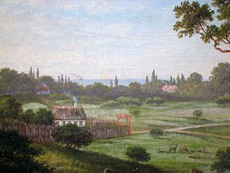 Taarbæk - View of Taarbæk from Jægersborg Dyrehave in 1879