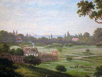 Taarbæk - View of Taarbæk from Jægersborg Dyrehave in 1879