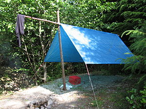 Fly (tent) - An improvised fly tent using a tarpaulin