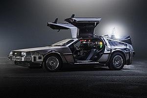 DeLorean time machine - Side view of the DeLorean time machine