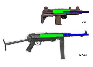 Telescoping bolt - Internal mechanisms of a telescoping bolt and conventional submachine gun.  Barrels are blue, bolts are green.