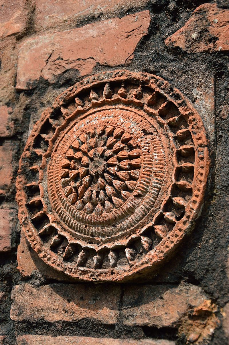 Terracotta Lotus Medallion - South Wall - Palpara Temple - Nadia 2013-10-20 3700.JPG