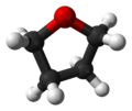 Ball-and-stick model of the tetrahydrofuran molecule