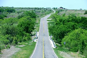 Farm-to-market road - FM 218 outside Hamilton, Texas, a typical Texas farm-to-market road