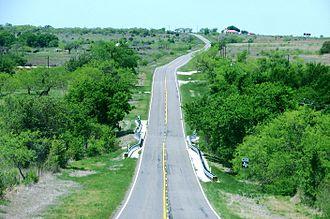 Farm-to-market road - FM 218 outside Hamilton, Texas, a typical Texas farm-to-market road