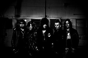 The 69 Eyes - From left to right: Archzie (bass), Jussi69 (drums), Jyrki69 (vocals), Timo-Timo (guitar), Bazie (guitar).