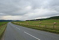 The A938 curves to the right round Duthil in the distance. - geograph.org.uk - 242479.jpg