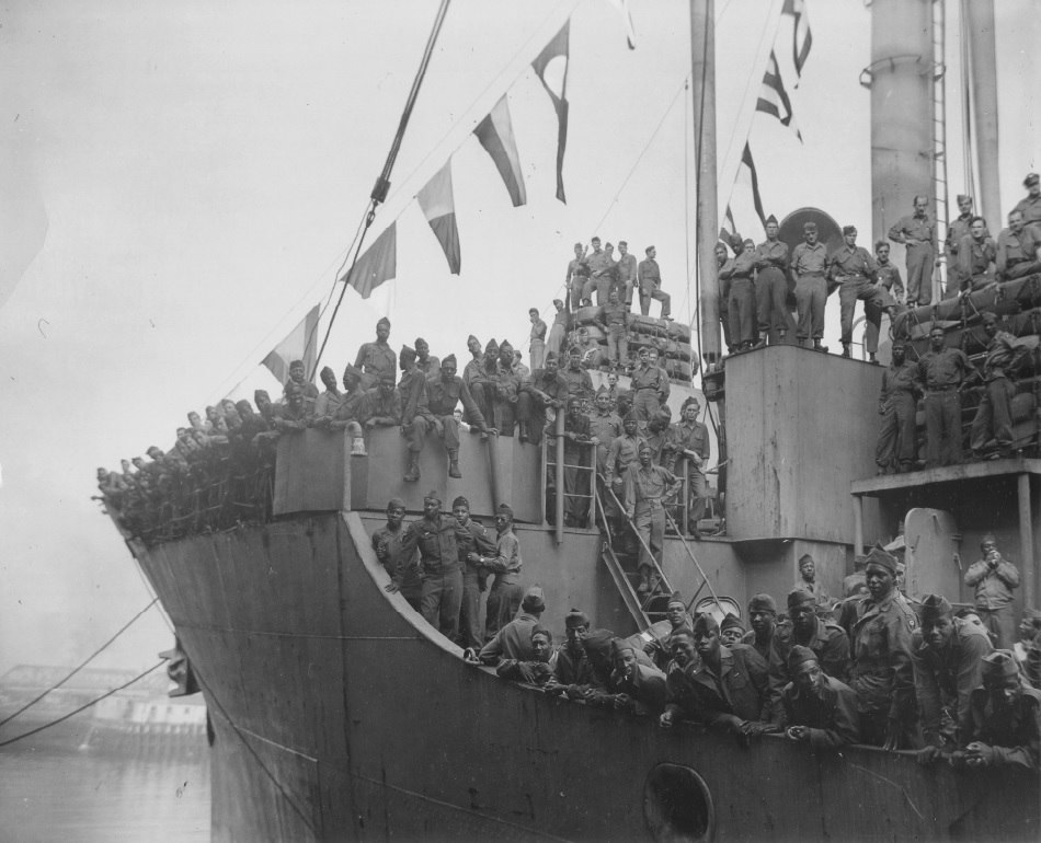 The Aiken Victory arriving in Boston with 1,958 troops from Europe, 26 July 1945