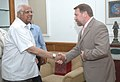 The Chairman of the Commission on Parliamentary procedures and Organization of Parliamentary Activities, Mr. Nikolai Tulaev meeting with the Speaker, Lok Sabha, Shri Somnath Chatterjee, in New Delhi on April 28, 2008.jpg