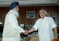 The Chief Minister of Punjab, Shri Prakash Singh Badal meeting the Minister of State for Environment and Forests (Independent Charge), Shri Jairam Ramesh, in New Delhi on August 03, 2009.jpg