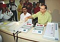 The Election Commission organised a demonstration of the working of the Electronic Voting Machine for the media persons in New Delhi on March 26, 2004.jpg