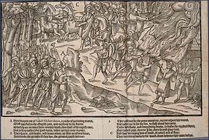 Kern (soldier) - A raid depicted in ''The Image of Irelande'' (1581). Kerns made up the core of the army, as light infantrymen.