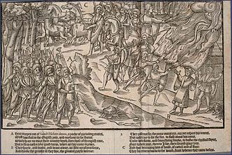 Gaelic warfare - A raid depicted in The Image of Irelande (1581). Kerns made up the bulk of the army, as light infantrymen. Note the Bagpiper leading the troops.