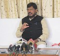 The Minister of State for Social Justice & Empowerment, Shri Ramdas Athawale addressing the press conference, at Bhubaneswar, Odisha on September 20, 2016.jpg