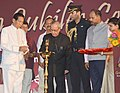 The President, Shri Pranab Mukherjee lighting the lamp to inaugurate the Golden Jubilee Celebration of Rameswar High School, in Khurda, Odisha on August 07, 2015. The Governor of Odisha, Shri. S.C. Jamir is also seen.jpg