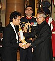 The President, Shri Pranab Mukherjee presenting the Bharat Ratna Awards 2014 to Shri Sachin Ramesh Tendulkar at a Investiture ceremony in New Delhi on February 4, 2014..jpg