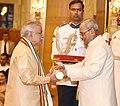 The President, Shri Pranab Mukherjee presenting the Padma Vibhushan Award to Dr. Murli Manohar Joshi, at a Civil Investiture Ceremony, at Rashtrapati Bhavan, in New Delhi on March 30, 2017.jpg