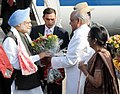 The Prime Minister, Dr. Manmohan Singh being welcomed by the Governor of Assam, Shri J.B. Patnaik, on his arrival, at Guwahati Airport on February 18, 2011.jpg