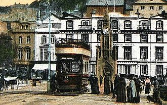 Torquay Tramways - A tram on The Strand by the harbour