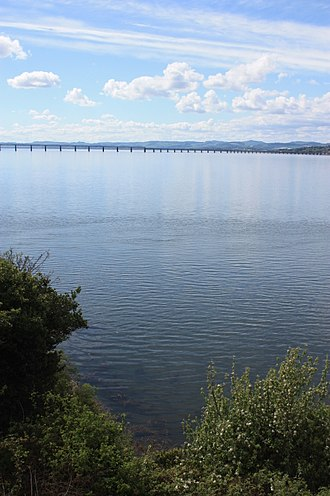 Tay Rail Bridge - The current Tay Rail Bridge as seen across the Tay Estuary from Newport-on-Tay