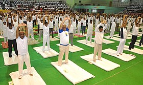 The Union Minister for Civil Aviation, Shri Ashok Gajapathi Raju Pusapati performing Yoga along with other participants, on the occasion of the 2nd International Day of Yoga – 2016, at Visakhapatnam, Andhra Pradesh.jpg