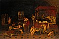 The birth of Saint John the Baptist. Oil painting after (?) Wellcome V0017248.jpg