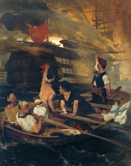 """The burning of the Turkish flagship by Kanaris"" by Nikiforos Lytras. The burning of the Turkish flagship by Kanaris.png"