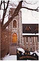 The tower of St. Mark's Anglican Church, Dundas Street, Deseronto, Ontario, taken on the day of its deconsecration, December 2001. (3684897880).jpg