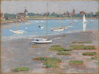 American Impressionism - Theodore Robinson, Low Tide Riverside Yacht Club, (1894), Collection of Margaret and Raymond Horowitz