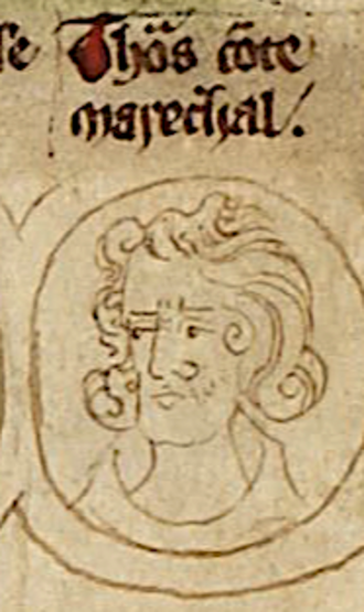Thomas of Brotherton, 1st Earl of Norfolk - Thomas depicted on a medieval roll