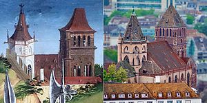 St Thomas' Church, Strasbourg - The church seen in 1450 (from a painting by the Master of the Karlsruhe Passion) and in 2015