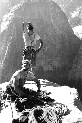 Chuck Pratt and Royal Robbins wearing swami belt, Salathe Wall, El Capitan, Yosemite Valley Tom Frost - The two greatest climbers - 1961.jpg