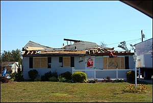 Tornado damage to a home in Griffith, Indiana