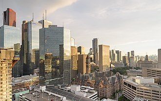 Economy of Toronto - Toronto's Financial District from the northeast at the Pantages Tower. The district is the city's central business district.