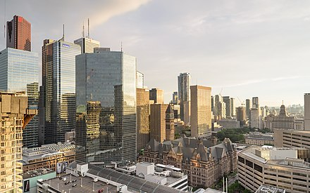 Toronto's Financial District serves as the centre for Canada's financial services. Toronto August 2017 03.jpg