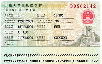 Travel visa - Tourist entry visa to the People's Republic of China.