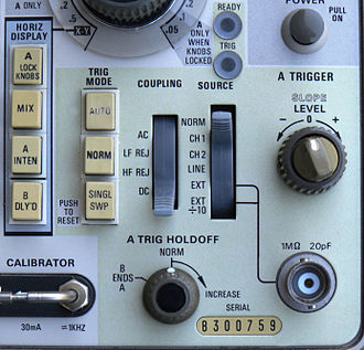 Oscilloscope history - Triggered sweep controls on a Tektronix 465 oscilloscope