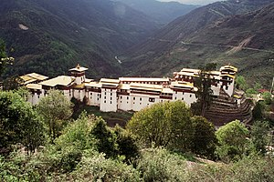 Dzong architecture - Trongsa Dzong, the largest dzong fortress in Bhutan.