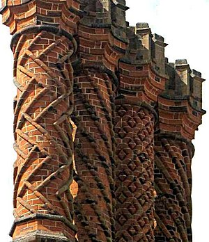 Hampton Court Palace - Decorative Tudor brick chimneys at Hampton Court Palace
