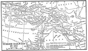 History of rail transport in Turkey - Turkish railways map (1918)