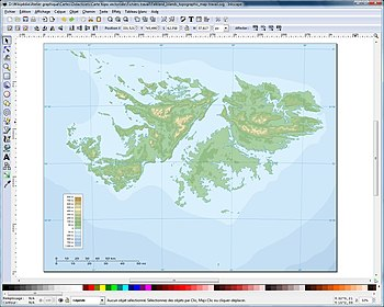 Finished vector graphics topographic map