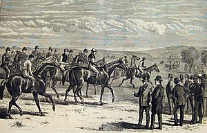 2000 Guineas Stakes -  Engraving of the 1874 2,000 Guineas, from the Illustrated Sporting and Dramatic News, May 1874