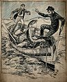 Two men in a boat are attacked by a sea monster Wellcome V0049550.jpg